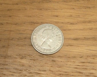 """Vintage 1960s British shilling coin, Queen Elizabeth II second coinage """"Scottish"""" shilling"""