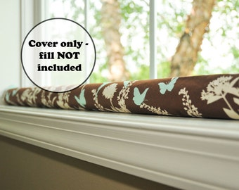 door draft stopper sleeve - draught excluder cover - brown aqua cream window snake - empty wind guard - draft dodger - birds and butterfly