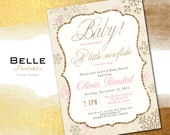 It's Cold Outside Baby Shower Invitation Snowflake Digital Baby Shower - Gold Glitter- Pink DIY Printable