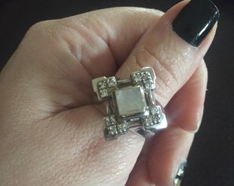 Stunning Michael Dawkins Sterling Silver Moonstone And Diamond Ring Size 7.5