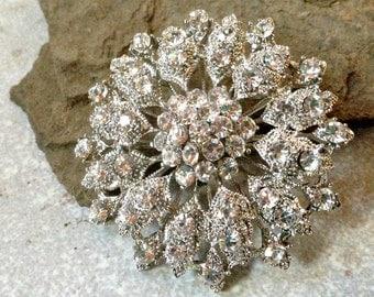 Silver Clear Rhinestone Brooch Flatback Embellishment or Pin Large Rhinestone Flower broach for Wedding Brooch Bouquet DIY Sash SC4