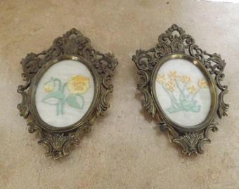 Two Italian Brass Frames with Crewel Floral designs