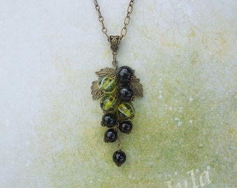 Pendant berries currants gooseberries, Glass berries, Black currants, Lampwork berries