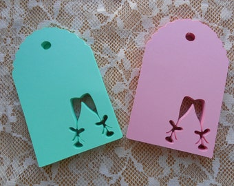 Champagne Glass Paper Die Cut Tags   wishing tree,wedding,anniversary,bridal shower,gift,salmon,coral,red,blue,green,purple,pink