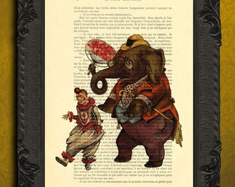 Circus poster, elephant clown art print on dictionary page, circus elephant decorations