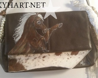 Brown Leather Hand Painted Horse Purse with Fringe, Lace, Pearls and Cowhide