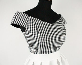 Off Shoulder, Cropped Top, Retro Top , Gingham top ,