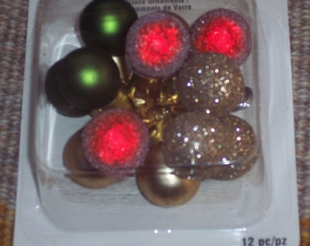 25MM stemmed balls,wired glass Christmas balls,Christmas color mix,matte & glittered finish,12/pkg,holiday crafts,wreath embellishment