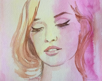 Beauty Fashion Watercolor - Contemporary Painting by Lana Moes - Original Fashion Illustration - Fashion Painting - Soft Colors