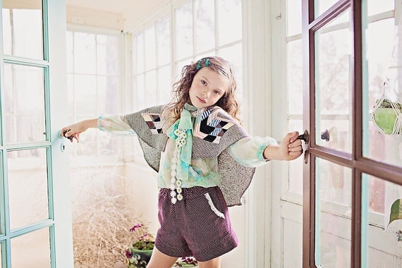 Girls Wool Quilted Patchwork New Vintage Cape Poncho