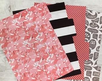Filofax Dividers - Flamingo Black and White Theme - A5 size - Set of 4