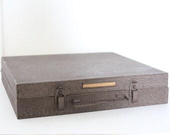 Vintage Industrial Metal Slide Storage Filing Box