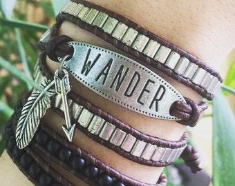 WANDER Wrap Bracelet, Silver Bracelet, Triple Wrap Bracelet, Bohemian Bracelet