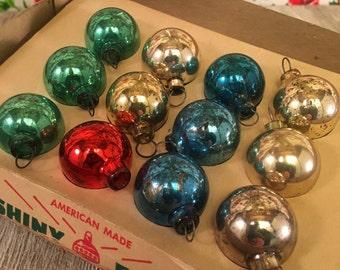 Box of 12 Assorted Miniature Vintage Mercury Glass Christmas Tree Ornaments