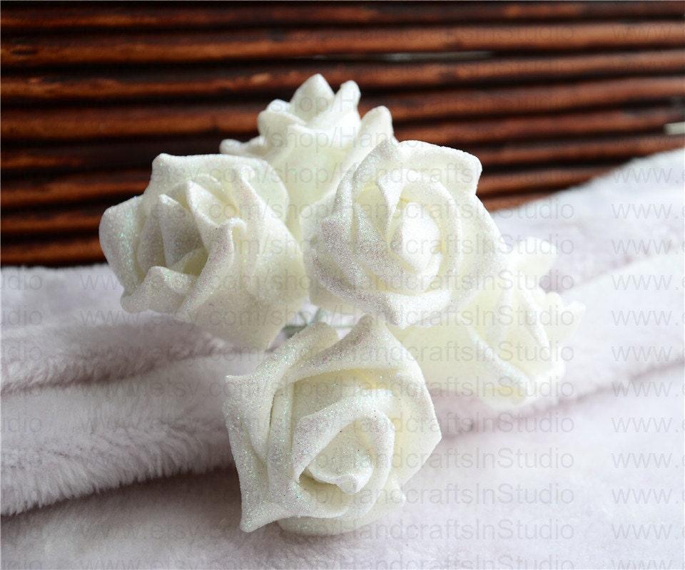 White glitter roses 100 white foam flowers for bridesmaids bridal white glitter roses 100 white foam flowers for bridesmaids bridal bouquet cake topper flowers kissing balls mightylinksfo
