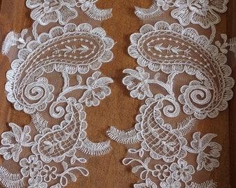 2pcs ivory Lace Appliques bridal headpiece appliques