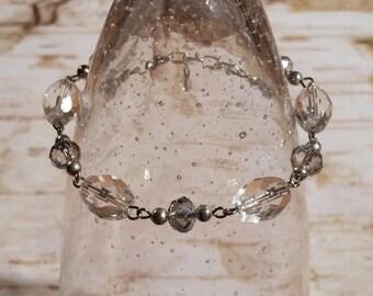 """7"""" to 8"""" Silver, Clear Crystal, and Grey Violdet Swarovski Crystal Bracelet - BR-007"""