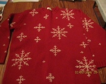 Gorgeous Red Wool Sweater Norwegian Design Snowflake