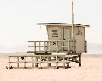 Vintage Beach Photography, Lifeguard Tower, Hermosa Beach, Los Angeles California, Seascape, Ocean Landscape, Surf, Soft, Retro, Coastal
