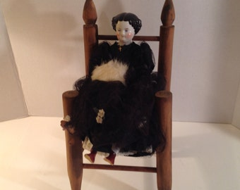 Antique Chair  Handmade Wooden Doll / Teddy Bear Chair with Woven Split Seat