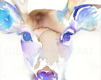 ON SALE Buck Watercolor Painting Print, Deer Painting, Print of Deer, Nursery Art, Watercolor Art, Watercolor Print, Deer Print, Antlers Pai