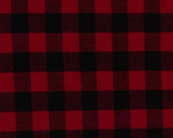 "Flannel Buffalo Plaid 3/4"" Buffalo Check Red Black Woven Cotton Flannel Fabric (op1103-592) D283.11"