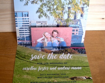 Baltimore Skyline Pop-up // Save the Date // Photo Save the Date Cards // Skyline Federal Hill Cards // Pop Up Save the Date