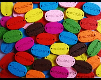 """25 Mixed Variety """" Handmade """" .. Wooden Buttons, Wooden Flatbacks, Wooden Charms, Handmade Flatbacks, Handmade Tags, Handmade Charms"""