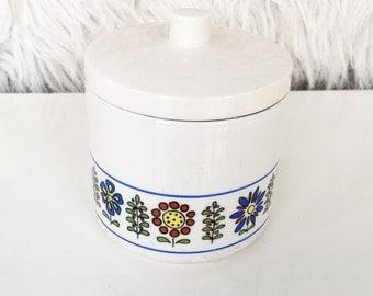 vintage  sugar jewelry holder container  bowl with lid  ceramuc karim italy pottery scandinavian danish modern vanity organizer creamer home