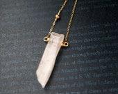 ROSE QUARTZ Bar Necklace, Rose Quartz Rectangular Slab + Tiny Rosegold Bead, Moonchild Gift for Her, Necklace