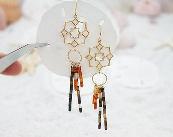 Long, Dream Catcher & Neutral Tube Beads, Boho, Special Occasions, Gift for her, Valentines, Earrings