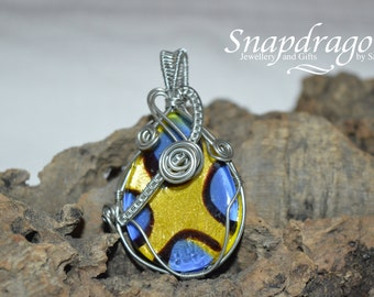 SALE Blue and yellow glass foil wire wrapped pendant CLEARANCE