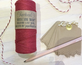 Rustic Luxe Twine 100 Yards, Rustic Bakers Twine, Red Twine, Cotton Twine, Christmas Gift Wrap, Gift Packaging, Gift Wrap, Christmas Twine