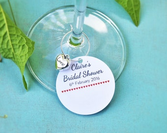 10 Personalised Bridal Shower Name Cards with Lovely Silver Hearts- Hen Party & Kitchen Tea Ideas