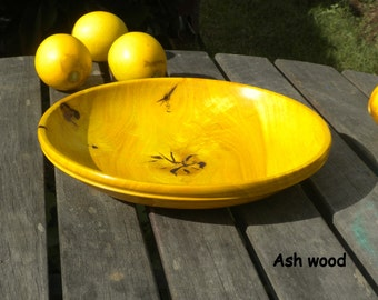 Wooden Bowl, yellow Ash wood, serving bowl