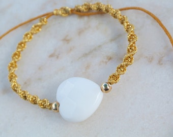 Gem Heart charm adjustable string bracelet, gold & mustard