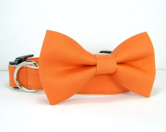 Wedding dog collar-Orange Dog Collars with bow tie set  (Mini,X-Small,Small,Medium ,Large or X-Large Size)- Adjustable
