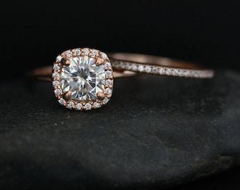 Moissanite Engagement Ring Forever Brilliant Moissanite Cushion 7mm and Diamond Half Eternity Bridal Ring Set