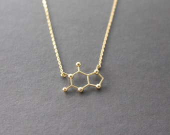 Coffee chemical necklace - Coffee Chemical Formula necklace - Caffeine Necklace - chemistry necklace