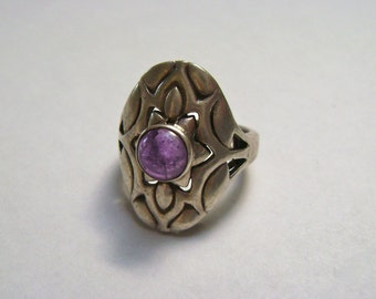 vintage sterling and amethyst ring, size 6