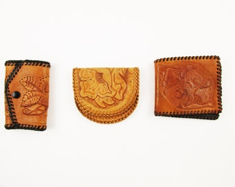 Your Choice - 1960s Tooled Leather Accessory Pieces  - Soft and Supple - Braided Bindings - Souvenirs - Scout Craft Projects