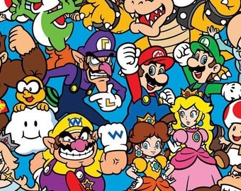 Super Mario Brothers Nintendo - Cotton Fabric - Sold by the yard