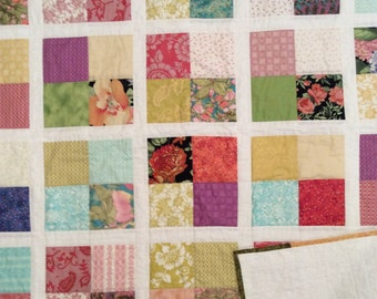"4 Square blocks With White Cotton Handmade Quilt , Lap Size , 53"" x 63"" Colorful"