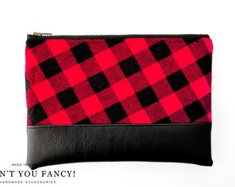Cosmetic Bag, Clutch, Make-up Bag, Pouch, Buffalo Plaid, Red and Black Plaid, Cotton and Faux Leather by Aren't You Fancy