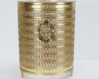 Vintage Gold Trash Can Filigree Waste Basket Liner Roses Hollywood Regency