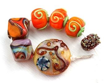 Autumn beads mix, Pumpkins, Lampwork glass beads, Orange, handmade beads, SRA