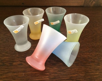 6 - FROSTED CRISTAL MODE Shot Glasses - Labels - Hand Decorated in Italy