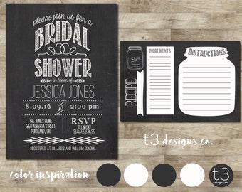 Printable Bridal Shower Invite & Recipe Card/Bridal Shower INVITATION chalkboard set, mason jar, chalkboard, 1080