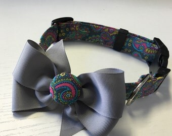 Grey paisley Dog Collar with Bow
