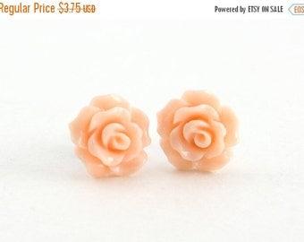 SALE 20% OFF SALE Tiny Peachy Pink Ruffled Rose Earrings, Stud Earrings, Flower Earrings, Bridesmaids Gift